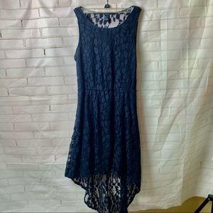 Navy Hi-Low Lace Dress
